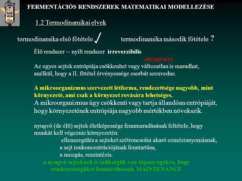 1.2 Termodinamikai elvek termodinamika első főtételetermodinamika második főtétele Élő rendszer -- nyílt rendszer irreverzibilis anyagcsere Az egyes s