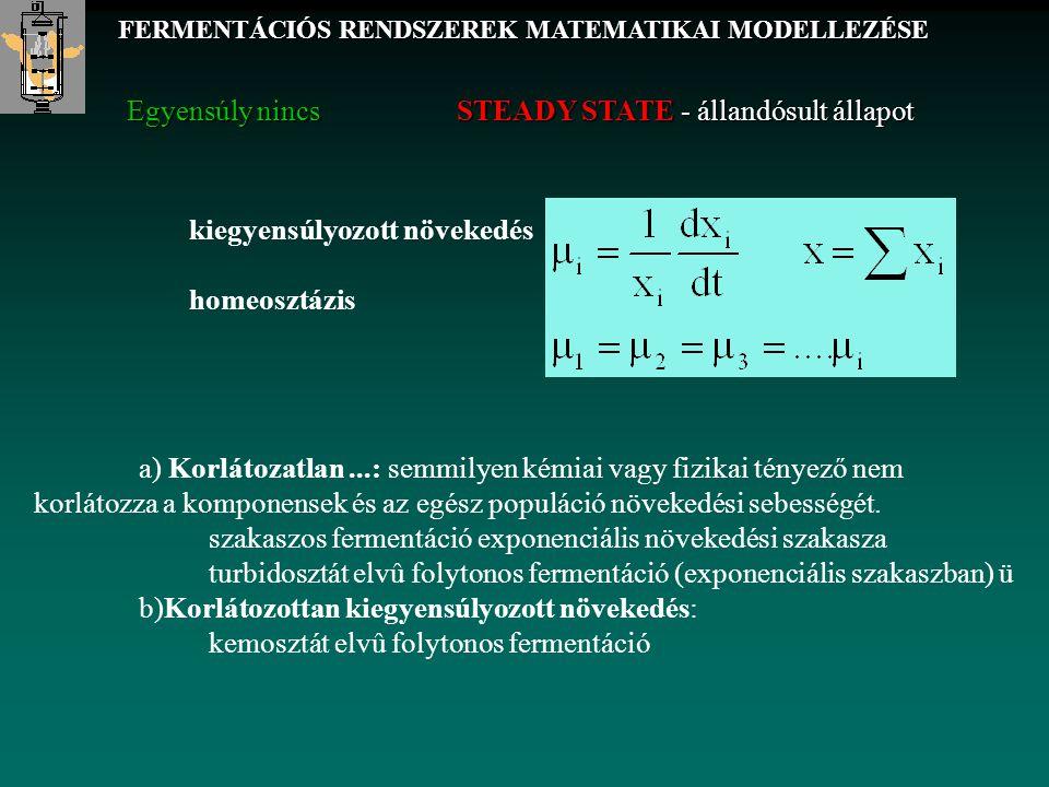 FERMENTÁCIÓS RENDSZEREK MATEMATIKAI MODELLEZÉSE Konstitutív egyenletben: Paraméter modell továbbiakban