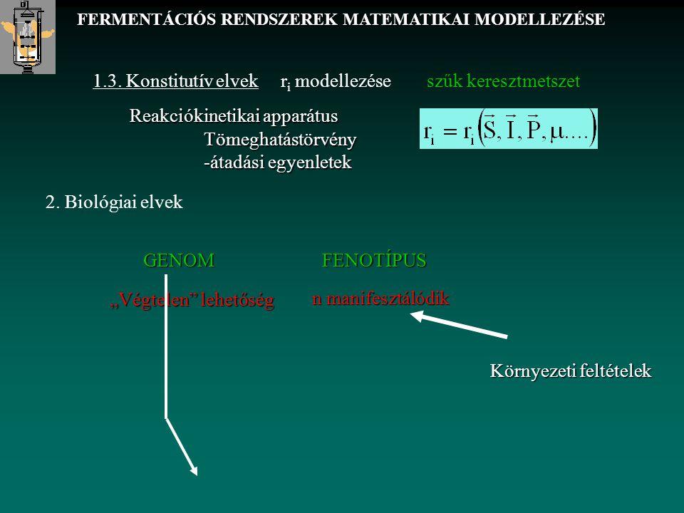 1.3. Konstitutív elvek r i modellezése szűk keresztmetszet 2. Biológiai elvek FERMENTÁCIÓS RENDSZEREK MATEMATIKAI MODELLEZÉSE Reakciókinetikai apparát