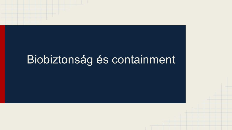 Maximum containment laboratory (BSL 4) Addíciók a laboratórium kialakításához (design and facilities): ●Elsődleges containment: ○Öltözet-laboratórium ■Az elsődleges védelmi eszköz az egybeöntött, pozitív-nyomású, HEPA szűrős, levegő betáplálású védőruha ■A laboratóriumot úgy tervezik, hogy a személyzetnek át kell haladnia az öltözőn és a fertőtlenítő helyiségen, mielőtt bejutna a fertőző anyaggal történő munkavégzés helyére ■Kötelező a fertőtlenítő zuhany használata a fertőző helyiség elhagyásakor ■Külön zuhanyt és kapcsolódó belső és külső öltözőt kell alkalmazni a laboratóriumba történő bemenetelnél és kijövetelnél ■A betáplált levegőt biztosító rendszernek 100 % tartalék-kapacitással kell rendelkeznie egy független levegőforrásból, baleset esetére ■A bejárati ajtóknak légmentesen záróknak kell lenniük ■Ki kell dolgozni egy megfelelő figyelmeztető rendszert, mely arról tájékoztatja a személyzet, hogy a mechanikai védelmi rendszer sérült vagy levegőellátási zavar keletkezett