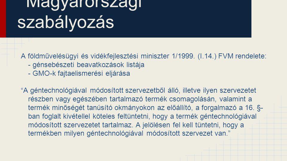 Magyarországi szabályozás A földművelésügyi és vidékfejlesztési miniszter 1/1999. (I.14.) FVM rendelete: - génsebészeti beavatkozások listája - GMO-k