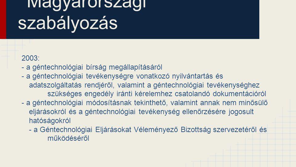 Magyarországi szabályozás 2003: - a géntechnológiai bírság megállapításáról - a géntechnológiai tevékenységre vonatkozó nyilvántartás és adatszolgálta