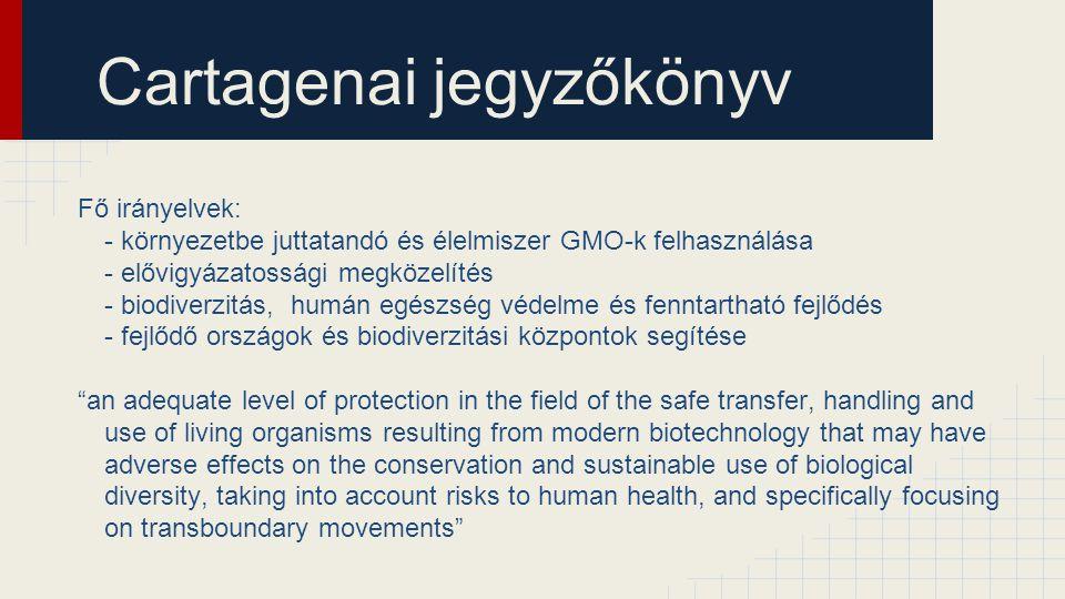 Cartagenai jegyzőkönyv Fő irányelvek: - környezetbe juttatandó és élelmiszer GMO-k felhasználása - elővigyázatossági megközelítés - biodiverzitás, hum