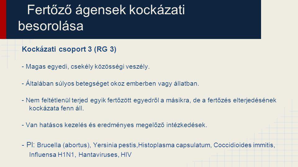 Fertőző ágensek kockázati besorolása Kockázati csoport 3 (RG 3) - Magas egyedi, csekély közösségi veszély. - Általában súlyos betegséget okoz emberben