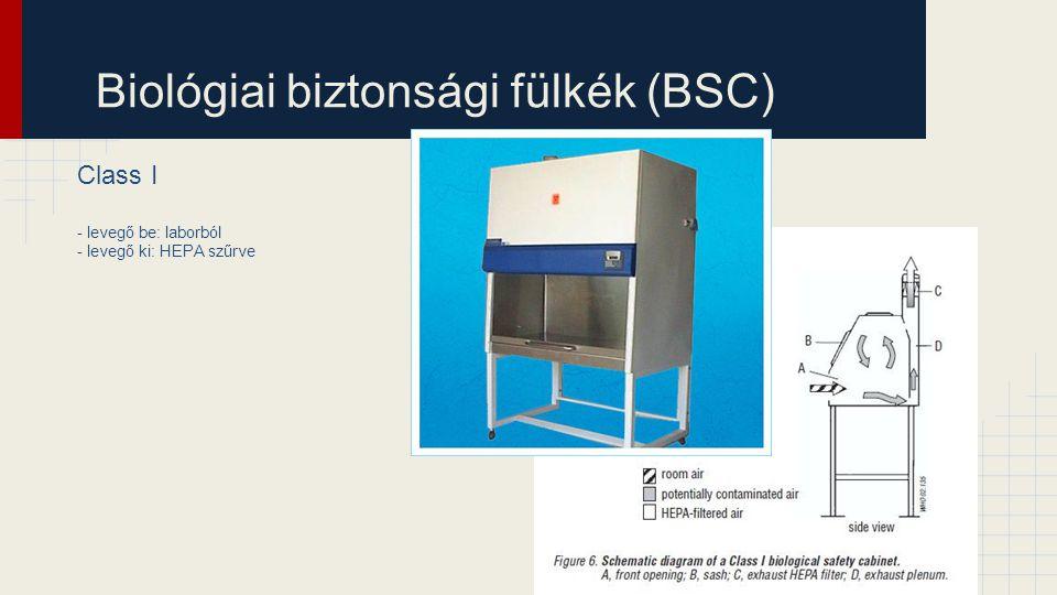 Biológiai biztonsági fülkék (BSC) Class I - levegő be: laborból - levegő ki: HEPA szűrve