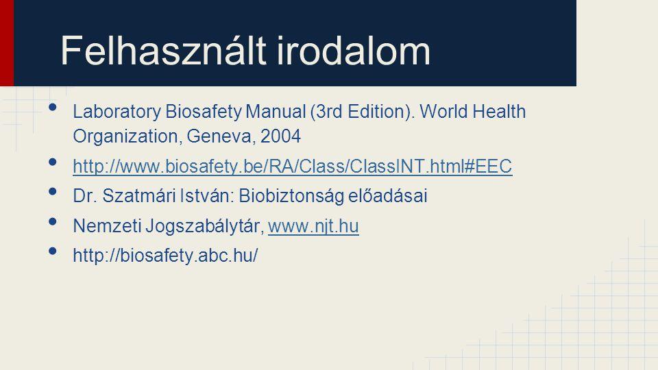 Felhasznált irodalom Laboratory Biosafety Manual (3rd Edition). World Health Organization, Geneva, 2004 http://www.biosafety.be/RA/Class/ClassINT.html