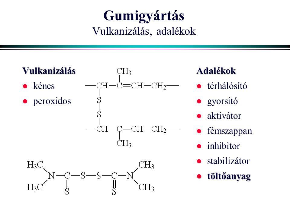 Gumigyártás Vulkanizálás, adalékok Vulkanizálás l kénes l peroxidosAdalékok l térhálósító l gyorsító l aktivátor l fémszappan l inhibitor l stabilizátor l töltőanyag