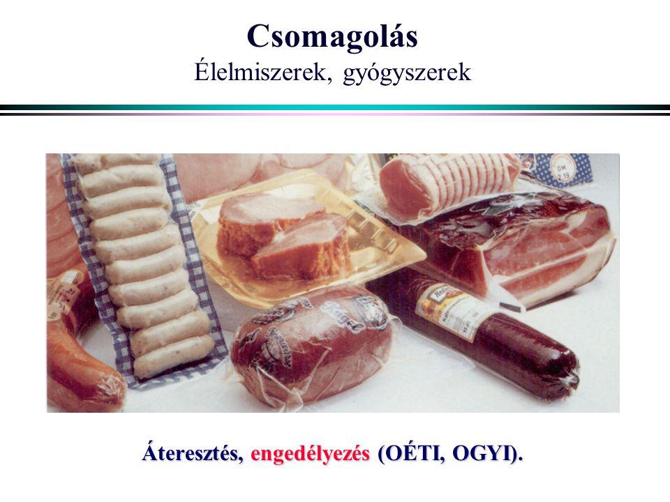 Csomagolás Élelmiszerek, gyógyszerek Áteresztés, engedélyezés (OÉTI, OGYI).