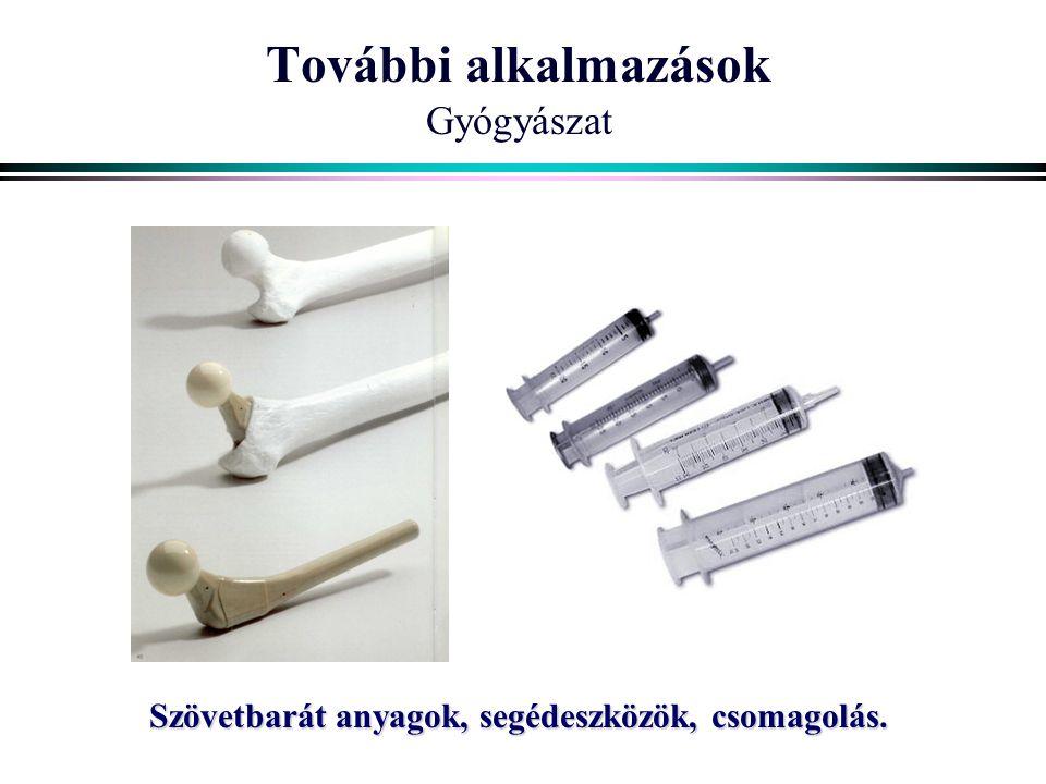 További alkalmazások Gyógyászat Szövetbarát anyagok, segédeszközök, csomagolás.