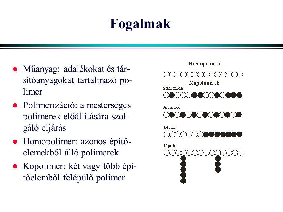 Fogalmak l Műanyag: adalékokat és tár- sítóanyagokat tartalmazó po- limer l Polimerizáció: a mesterséges polimerek előállítására szol- gáló eljárás l