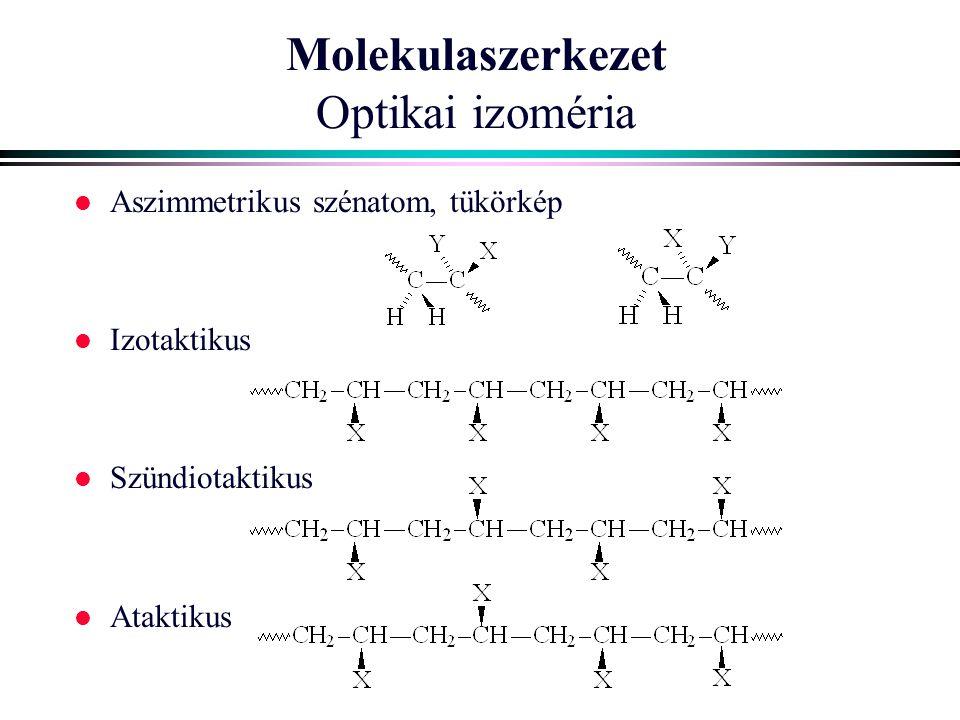 Molekulaszerkezet Optikai izoméria l Aszimmetrikus szénatom, tükörkép l Izotaktikus l Szündiotaktikus l Ataktikus