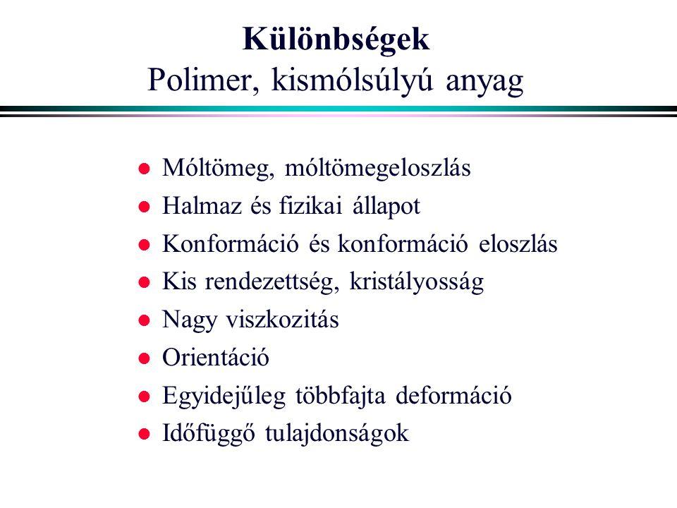 Különbségek Polimer, kismólsúlyú anyag l Móltömeg, móltömegeloszlás l Halmaz és fizikai állapot l Konformáció és konformáció eloszlás l Kis rendezetts