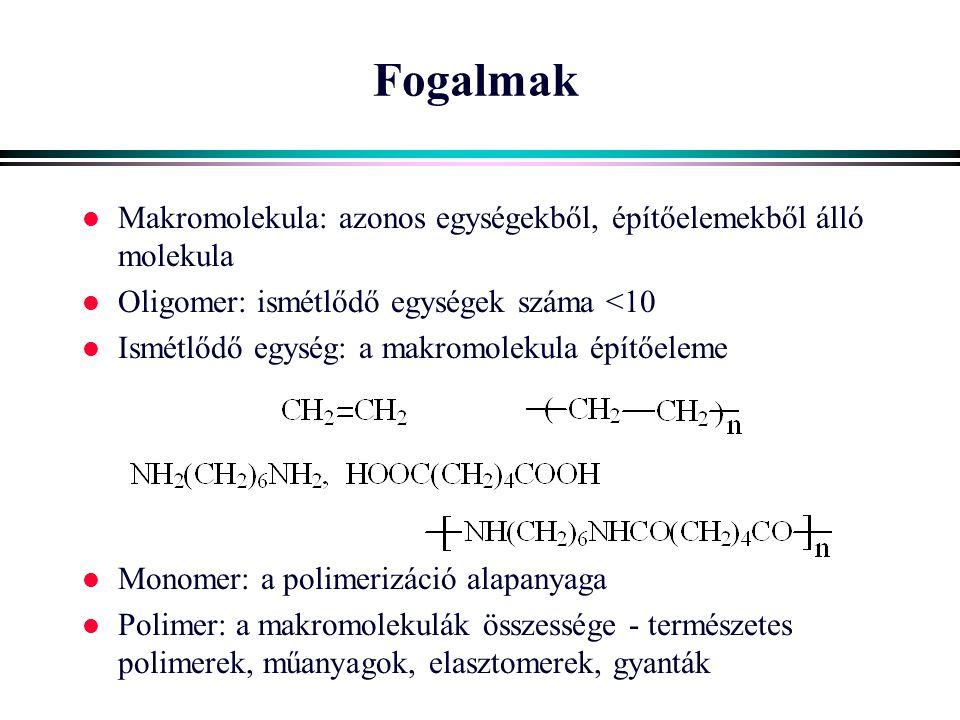Molekulaszerkezet Láncszerkezet l Alak - konformáció l Konformáció eloszlás l Konformáció változás l Egyensúlyi alak: gombo- lyodott l Gombolyag mérete: - láncvégtávolság - tehetetlenségi sugár - hidrodinamikai térfogat l Gátló tényezők