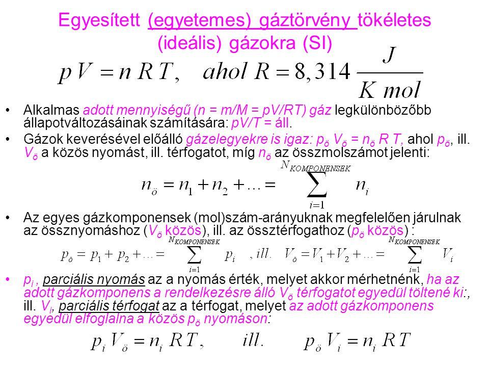 Egyesített (egyetemes) gáztörvény tökéletes (ideális) gázokra (SI) Alkalmas adott mennyiségű (n = m/M = pV/RT) gáz legkülönbözőbb állapotváltozásáinak