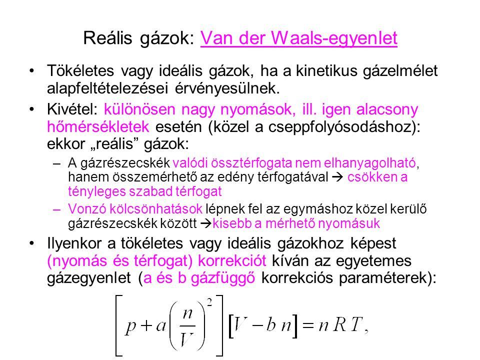 Reális gázok: Van der Waals-egyenlet Tökéletes vagy ideális gázok, ha a kinetikus gázelmélet alapfeltételezései érvényesülnek. Kivétel: különösen nagy