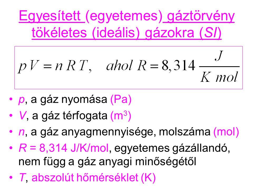 Egyesített (egyetemes) gáztörvény tökéletes (ideális) gázokra (SI) p, a gáz nyomása (Pa) V, a gáz térfogata (m 3 ) n, a gáz anyagmennyisége, molszáma