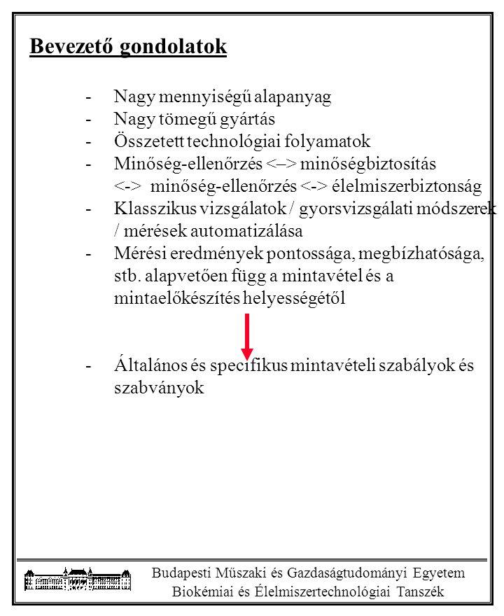 Budapesti Műszaki és Gazdaságtudományi Egyetem Biokémiai és Élelmiszertechnológiai Tanszék Bevezető gondolatok -Nagy mennyiségű alapanyag -Nagy tömegű gyártás -Összetett technológiai folyamatok -Minőség-ellenőrzés minőségbiztosítás minőség-ellenőrzés élelmiszerbiztonság -Klasszikus vizsgálatok / gyorsvizsgálati módszerek / mérések automatizálása -Mérési eredmények pontossága, megbízhatósága, stb.