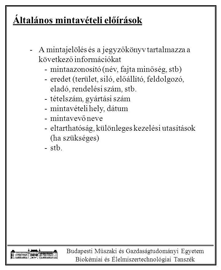 Budapesti Műszaki és Gazdaságtudományi Egyetem Biokémiai és Élelmiszertechnológiai Tanszék Példa automatikus pormintavevő alkalmazására