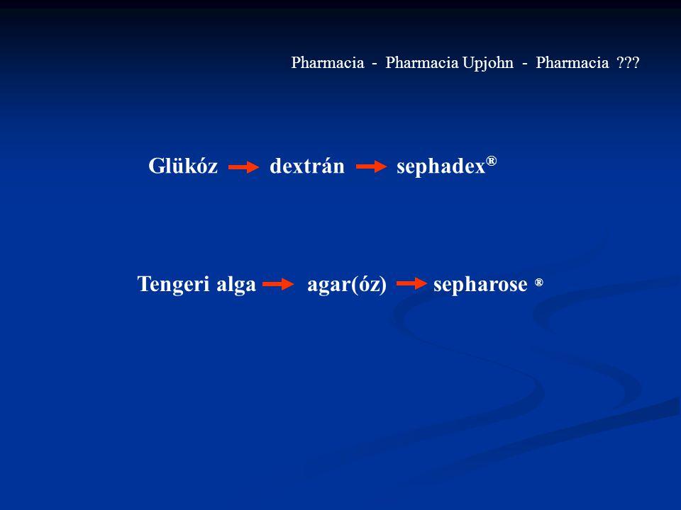 Glükóz dextrán sephadex ® Tengeri alga agar(óz) sepharose ® Pharmacia - Pharmacia Upjohn - Pharmacia ???