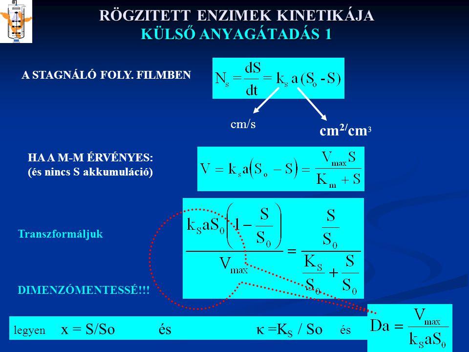 RÖGZITETT ENZIMEK KINETIKÁJA KÜLSŐ ANYAGÁTADÁS 1 legyen x = S/So és κ =K S / So és A STAGNÁLÓ FOLY.