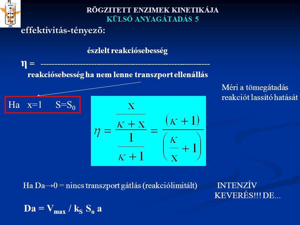 RÖGZITETT ENZIMEK KINETIKÁJA KÜLSŐ ANYAGÁTADÁS 5 effektivitás-tényezõ: észlelt reakciósebesség η = ------------------------------------------------------------- reakciósebesség ha nem lenne transzport ellenállás Ha x=1 S=S 0 Méri a tömegátadás reakciót lassító hatását Ha Da→0 = nincs transzport gátlás (reakciólimitált) INTENZÍV KEVERÉS!!.