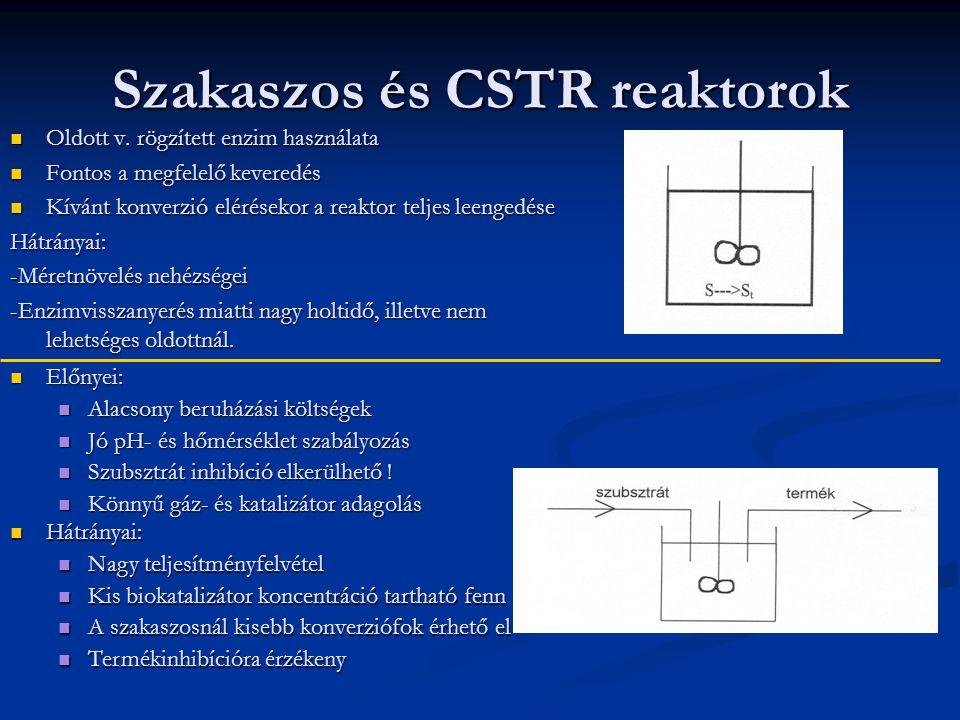 Szakaszos és CSTR reaktorok Oldott v.rögzített enzim használata Oldott v.