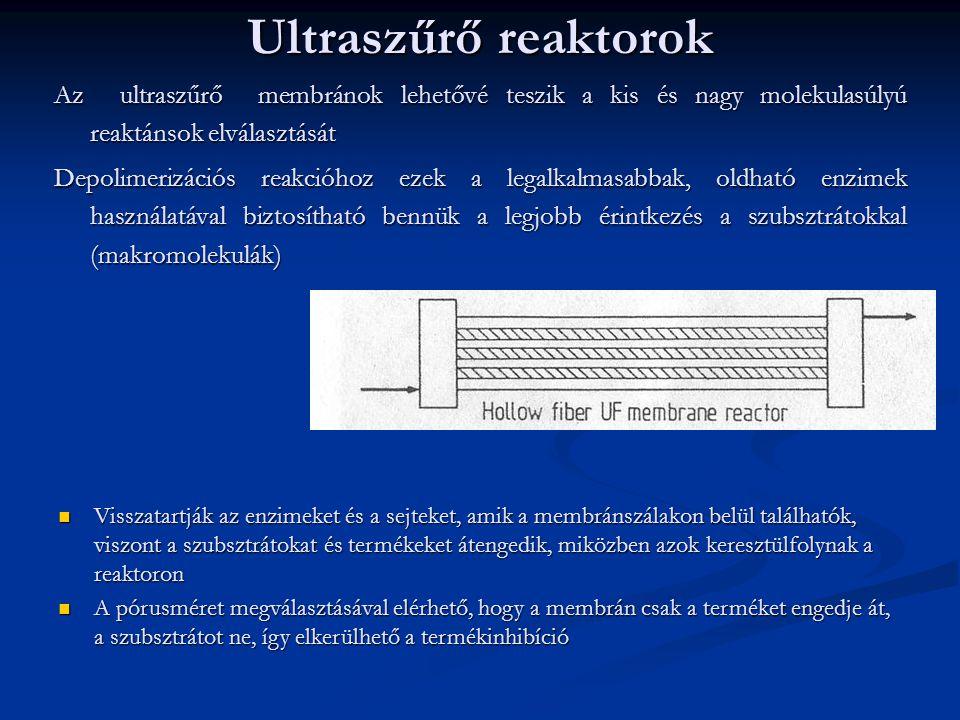 Ultraszűrő reaktorok Az ultraszűrő membránok lehetővé teszik a kis és nagy molekulasúlyú reaktánsok elválasztását Depolimerizációs reakcióhoz ezek a legalkalmasabbak, oldható enzimek használatával biztosítható bennük a legjobb érintkezés a szubsztrátokkal (makromolekulák) Visszatartják az enzimeket és a sejteket, amik a membránszálakon belül találhatók, viszont a szubsztrátokat és termékeket átengedik, miközben azok keresztülfolynak a reaktoron Visszatartják az enzimeket és a sejteket, amik a membránszálakon belül találhatók, viszont a szubsztrátokat és termékeket átengedik, miközben azok keresztülfolynak a reaktoron A pórusméret megválasztásával elérhető, hogy a membrán csak a terméket engedje át, a szubsztrátot ne, így elkerülhető a termékinhibíció A pórusméret megválasztásával elérhető, hogy a membrán csak a terméket engedje át, a szubsztrátot ne, így elkerülhető a termékinhibíció