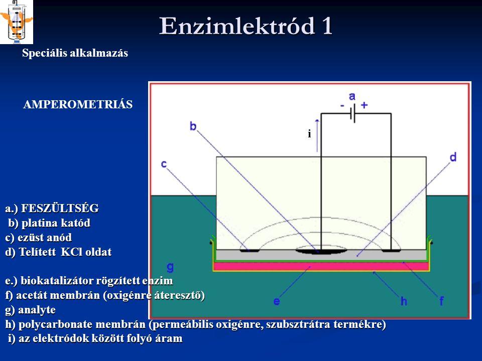 Enzimlektród 1 a.) FESZÜLTSÉG b) platina katód b) platina katód c) ezüst anód d) Telített KCl oldat e.) biokatalizátor rögzített enzim f) acetát membrán (oxigénre áteresztő) g) analyte h) polycarbonate membrán (permeábilis oxigénre, szubsztrátra termékre) i) az elektródok között folyó áram i) az elektródok között folyó áram Speciális alkalmazás AMPEROMETRIÁS i
