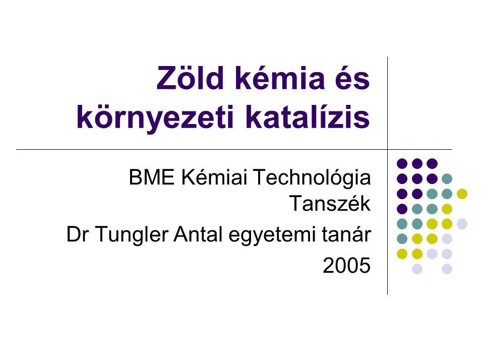 Zöld kémia és környezeti katalízis BME Kémiai Technológia Tanszék Dr Tungler Antal egyetemi tanár 2005