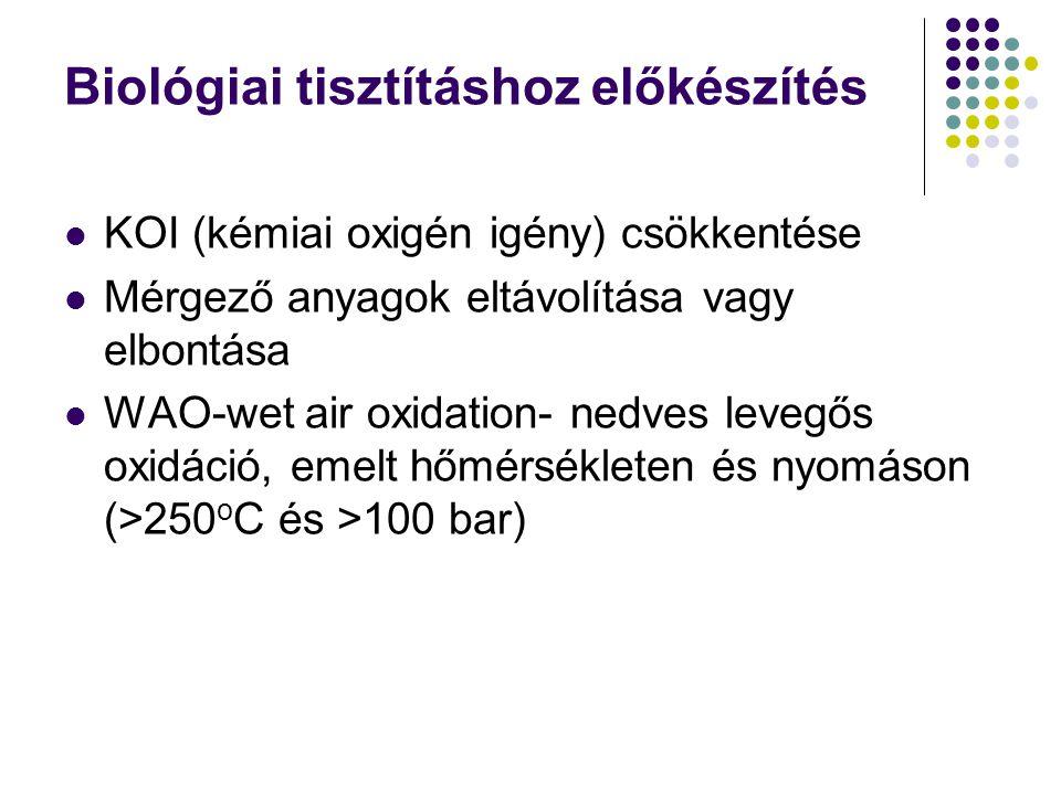 Biológiai tisztításhoz előkészítés KOI (kémiai oxigén igény) csökkentése Mérgező anyagok eltávolítása vagy elbontása WAO-wet air oxidation- nedves lev