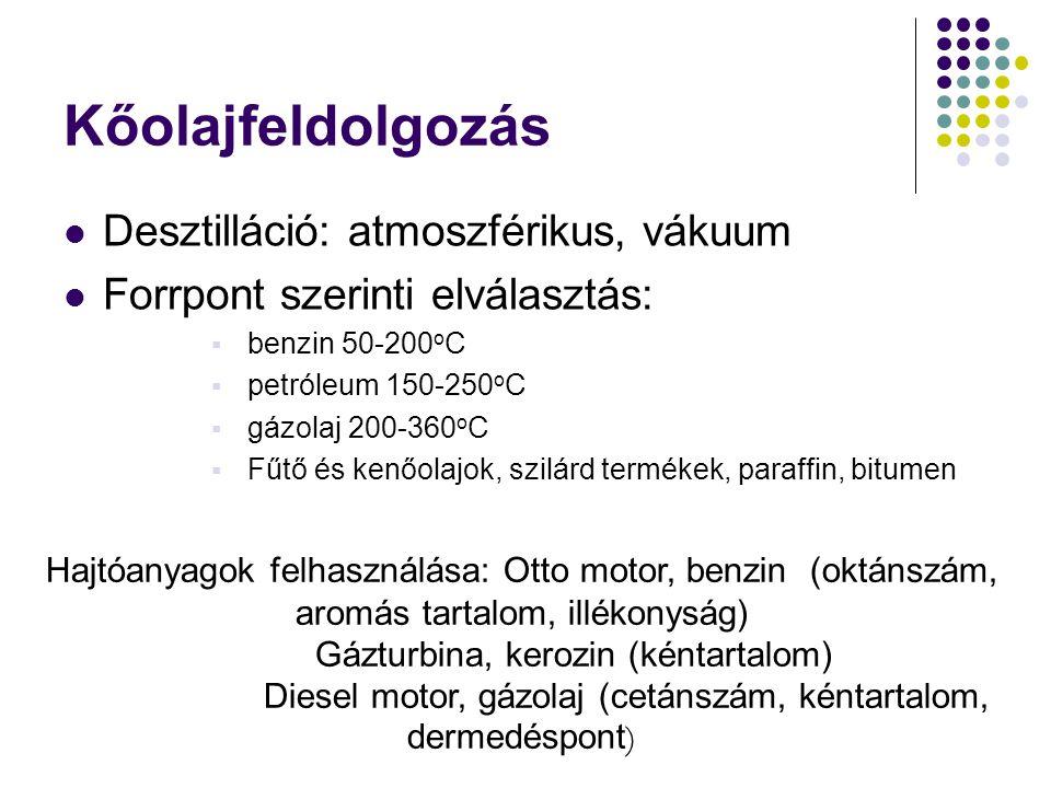 Kőolajfeldolgozás Desztilláció: atmoszférikus, vákuum Forrpont szerinti elválasztás:  benzin 50-200 o C  petróleum 150-250 o C  gázolaj 200-360 o C
