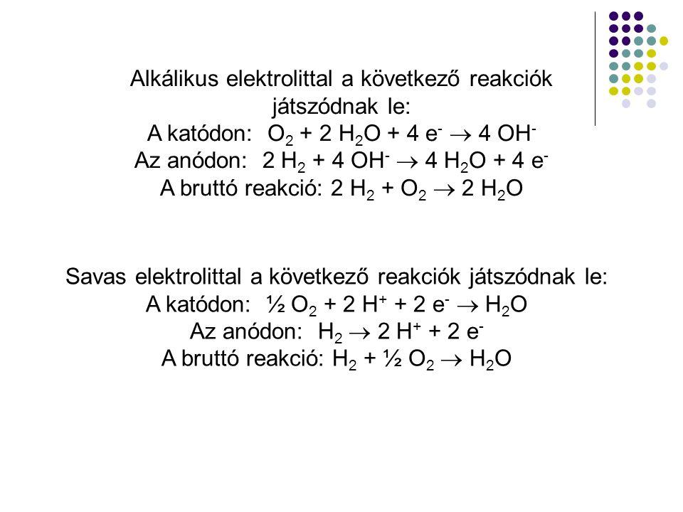 Alkálikus elektrolittal a következő reakciók játszódnak le: A katódon: O 2 + 2 H 2 O + 4 e -  4 OH - Az anódon: 2 H 2 + 4 OH -  4 H 2 O + 4 e - A br