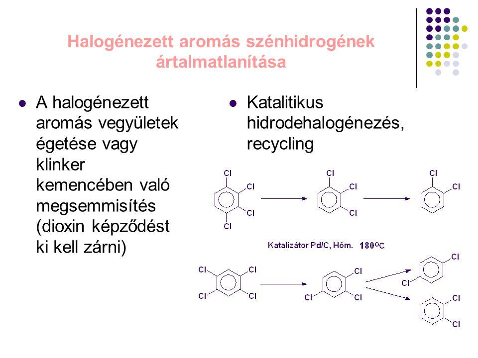 Halogénezett aromás szénhidrogének ártalmatlanítása A halogénezett aromás vegyületek égetése vagy klinker kemencében való megsemmisítés (dioxin képződ