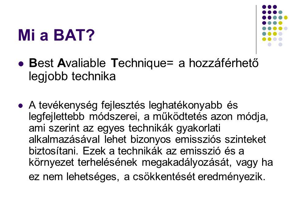 Mi a BAT? Best Avaliable Technique= a hozzáférhető legjobb technika A tevékenység fejlesztés leghatékonyabb és legfejlettebb módszerei, a működtetés a