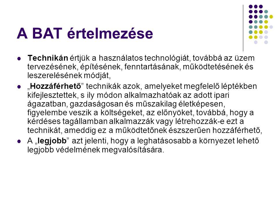 A BAT értelmezése Technikán értjük a használatos technológiát, továbbá az üzem tervezésének, építésének, fenntartásának, működtetésének és leszerelésé