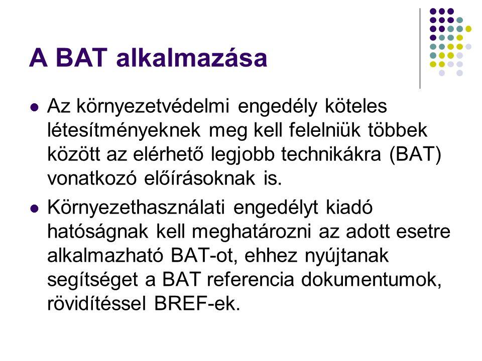 A BAT alkalmazása Az környezetvédelmi engedély köteles létesítményeknek meg kell felelniük többek között az elérhető legjobb technikákra (BAT) vonatko