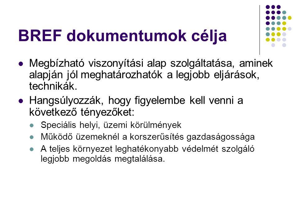 BREF dokumentumok célja Megbízható viszonyítási alap szolgáltatása, aminek alapján jól meghatározhatók a legjobb eljárások, technikák. Hangsúlyozzák,