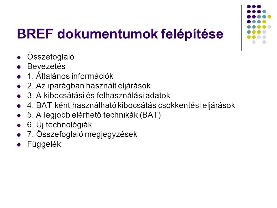 BREF dokumentumok felépítése Összefoglaló Bevezetés 1. Általános információk 2. Az iparágban használt eljárások 3. A kibocsátási és felhasználási adat