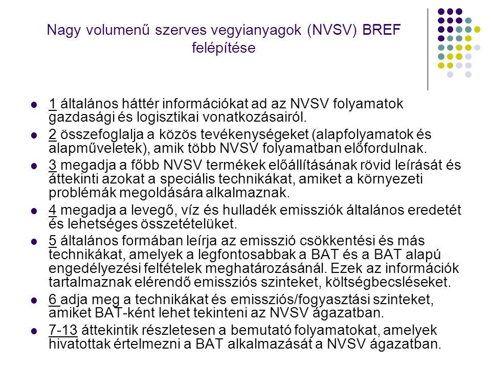 Nagy volumenű szerves vegyianyagok (NVSV) BREF felépítése 1 általános háttér információkat ad az NVSV folyamatok gazdasági és logisztikai vonatkozásai