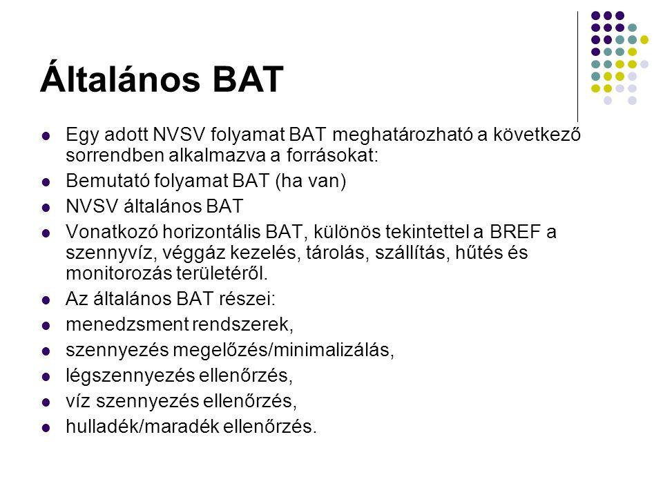 Általános BAT Egy adott NVSV folyamat BAT meghatározható a következő sorrendben alkalmazva a forrásokat: Bemutató folyamat BAT (ha van) NVSV általános