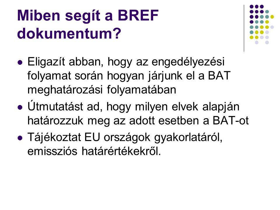 Miben segít a BREF dokumentum? Eligazít abban, hogy az engedélyezési folyamat során hogyan járjunk el a BAT meghatározási folyamatában Útmutatást ad,