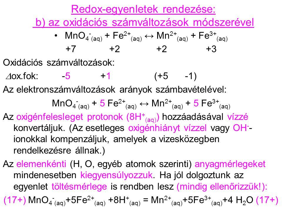 Redox-egyenletek rendezése: b) az oxidációs számváltozások módszerével MnO 4 - (aq) + Fe 2+ (aq) ↔ Mn 2+ (aq) + Fe 3+ (aq) +7 +2 +2 +3 Oxidációs számv