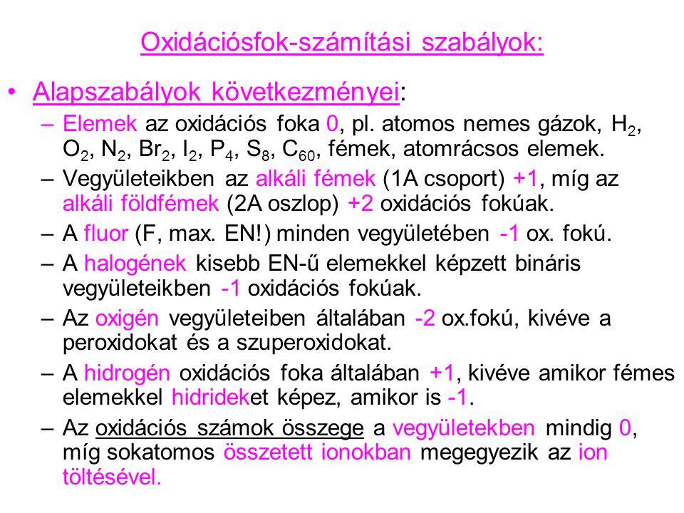 Oxidációsfok-számítási szabályok: Alapszabályok következményei: –Elemek az oxidációs foka 0, pl. atomos nemes gázok, H 2, O 2, N 2, Br 2, I 2, P 4, S