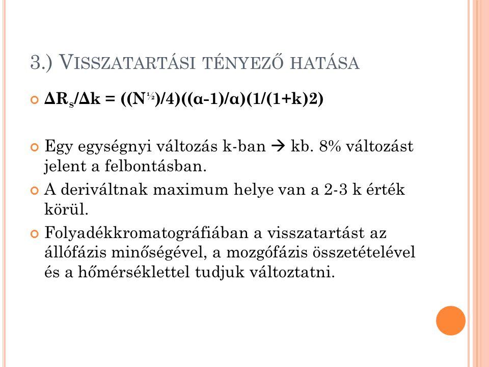3.) V ISSZATARTÁSI TÉNYEZŐ HATÁSA ΔR s /Δk = ((N ½ )/4)((α-1)/α)(1/(1+k)2) Egy egységnyi változás k-ban  kb. 8% változást jelent a felbontásban. A de