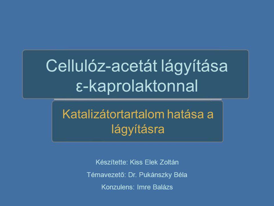 Cellulóz-acetát lágyítása ε-kaprolaktonnal Katalizátortartalom hatása a lágyításra Készítette: Kiss Elek Zoltán Témavezető: Dr.