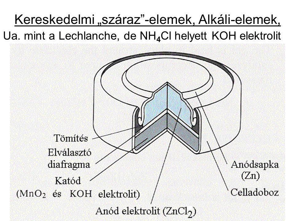 """Kereskedelmi """"száraz""""-elemek, Alkáli-elemek, Ua. mint a Lechlanche, de NH 4 Cl helyett KOH elektrolit"""