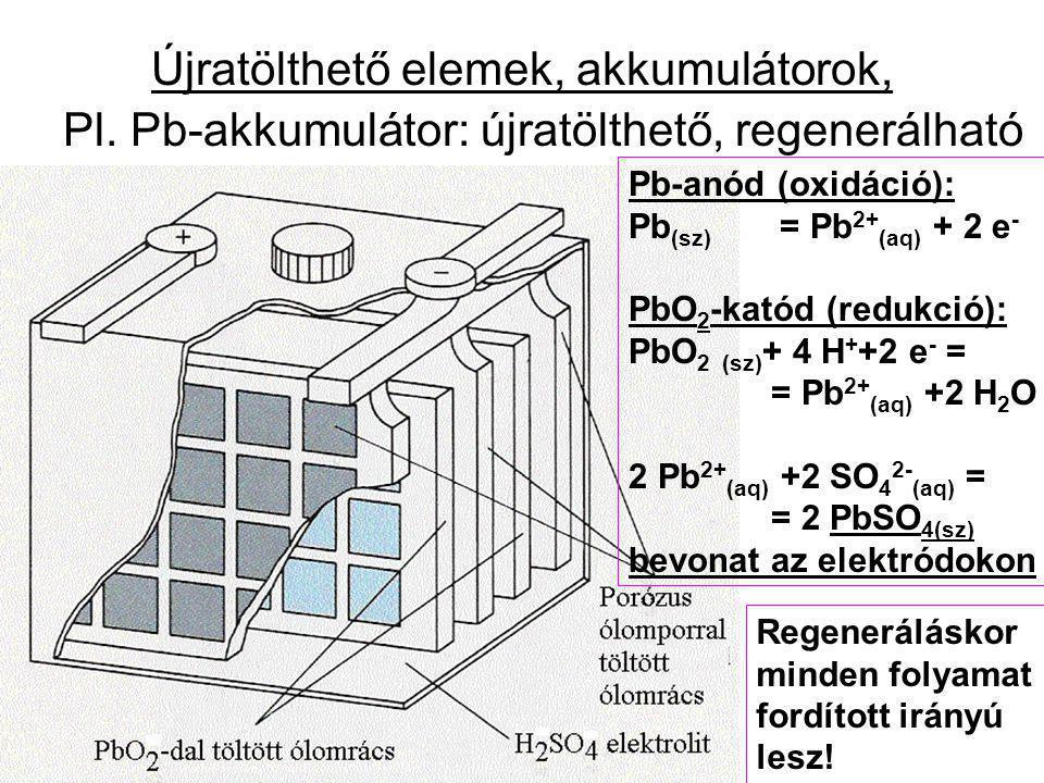 Újratölthető elemek, akkumulátorok, Pl. Pb-akkumulátor: újratölthető, regenerálható Pb-anód (oxidáció): Pb (sz) = Pb 2+ (aq) + 2 e - PbO 2 -katód (red