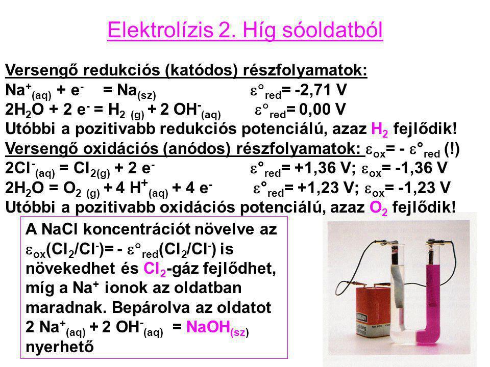 Elektrolízis 2. Híg sóoldatból Versengő redukciós (katódos) részfolyamatok: Na + (aq) + e - = Na (sz)  red = -2,71 V 2H 2 O + 2 e - = H 2 (g) + 2 OH