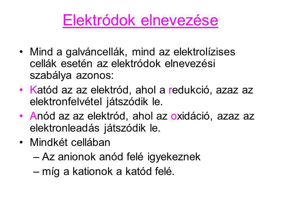 Elektródok elnevezése Mind a galváncellák, mind az elektrolízises cellák esetén az elektródok elnevezési szabálya azonos: Katód az az elektród, ahol a