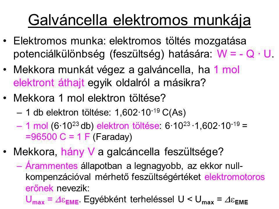 Galváncella elektromos munkája Elektromos munka: elektromos töltés mozgatása potenciálkülönbség (feszültség) hatására: W = - Q · U. Mekkora munkát vég